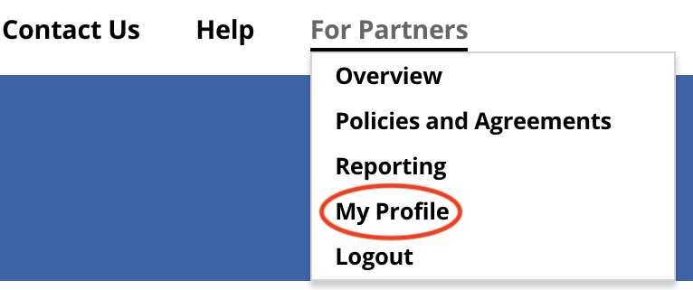 My Profile menu option