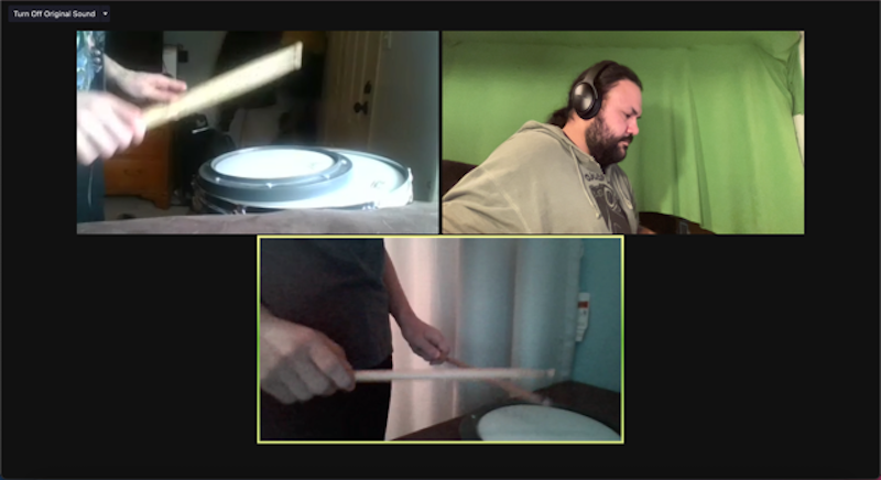 Drum students on a Zoom call.